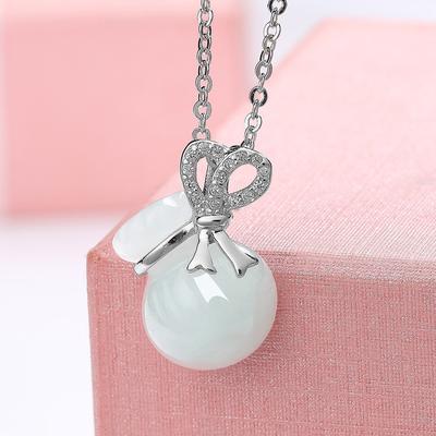 赫斯曼 925银和田玉葫芦吊坠女项链女 送女友礼物