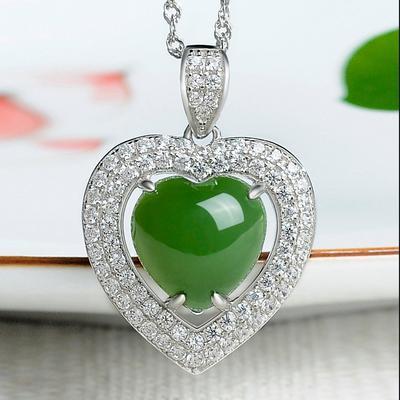 赫斯曼 和田玉碧玉吊坠女玉坠项链女珠宝玉石挂件