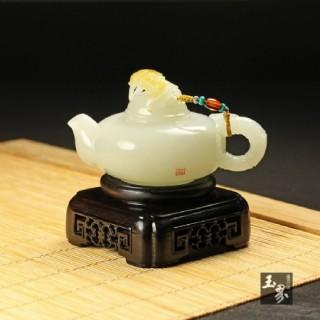 白玉子料-祝福把玩壶