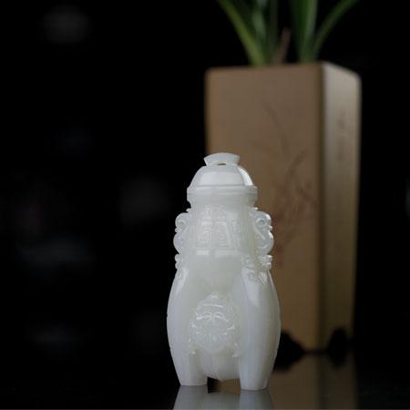 和田白玉-饕餮瓶