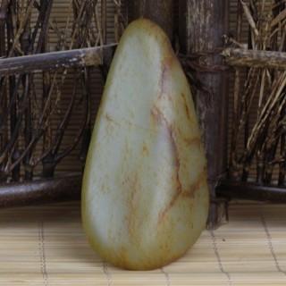 和田玉子料原石油性密度佳形状完整手把件原石