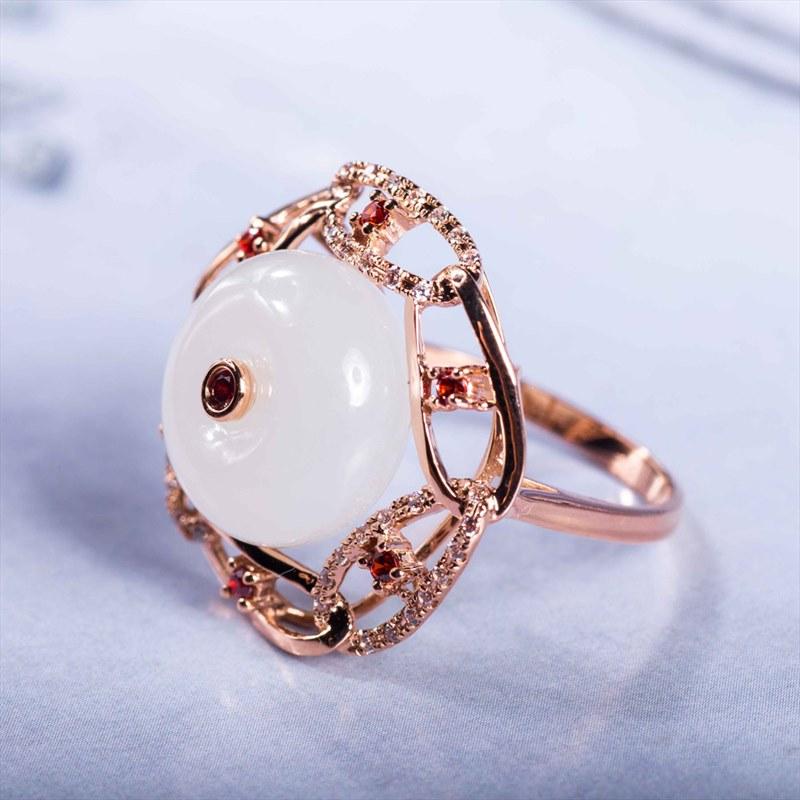 精品羊脂玉首饰戒指 和田玉羊脂白玉戒指 天然A货玉石时手饰 配证书 女款