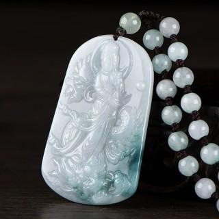 缅甸天然A货翡翠佩牌玉观音菩萨翡翠吊坠男士女款玉石项链带证书