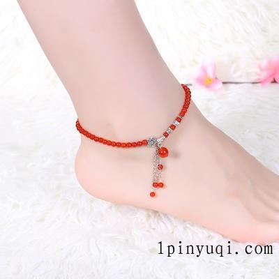 红玛瑙石榴石本命年配饰 红玛瑙女士脚链