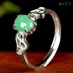 925银蛋面翡翠淡绿戒指女指环女士镶嵌翡翠银饰戒指