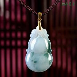 天然翡翠葫芦吊坠玉坠 翡翠玉葫芦挂件项链送精美绳链