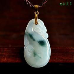 天然翡翠如意吊坠项链 缅甸翡翠冰糯种如意玉石挂件玉坠带证书