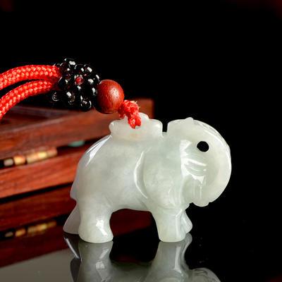 翡翠男女款大象吊坠玉坠 翡翠玉石挂件吊坠送精美绳链和礼盒