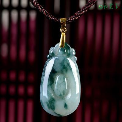 天然翡翠如意男女款吊坠 冰种翡翠玉石挂件项链玉坠