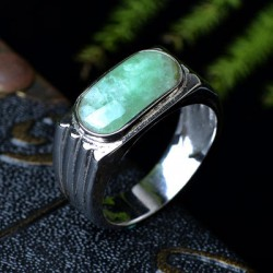 925银翡翠戒指指环 镶嵌翡翠玉石戒指女款翡翠银饰戒指