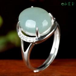 天然翡翠蛋面戒指女指环女款翡翠镶嵌戒指
