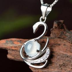 女翡翠冰种天鹅吊坠项链 银饰镶嵌翡翠玉石项链玉坠