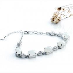 冰种翡翠蛋面银镶手链女手串女款银饰嵌翡翠圆珠手链