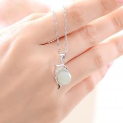 精致时尚翡翠女士海豚吊坠女项链女款银饰项链嵌翡翠挂件