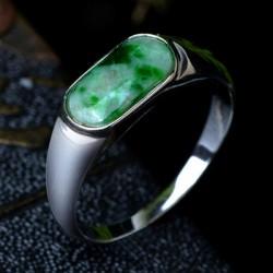 天然翡翠绿戒指女款指环女玉戒指女