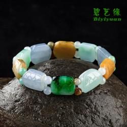 天然A货冰种翡翠三彩寿龟手链手串 男女通用
