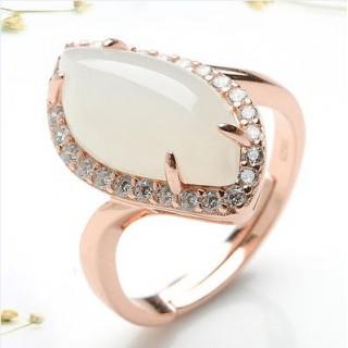 赫斯曼 和田玉白玉戒指女指环女送礼礼物