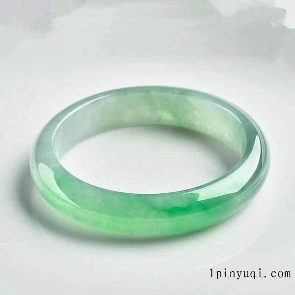 缅甸老坑冰种飘阳绿翡翠手镯贵妃镯女款冰糯种天然翡翠宽版玉镯子