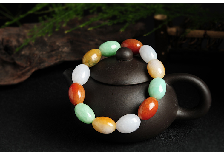 玉石翡翠糖果色三彩手链 转运珠路路通串珠男女款手链配证书