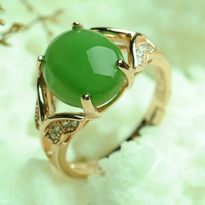 碧艺缘 和田玉女士戒指戒子女戒指环 镶嵌和田碧玉戒指