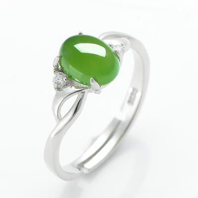 925银和田玉碧玉戒指女指环女玉戒女戒子女