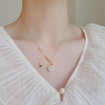 平安扣和田玉项链女士款玉石锁骨链14K包金不褪色小众设计礼物