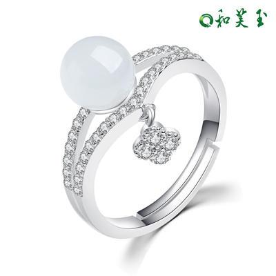 和芙玉 时尚925银和田玉白玉戒指女指环女玉戒女