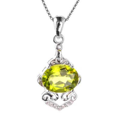 橄榄石吊坠银镶嵌项链锁骨链配饰