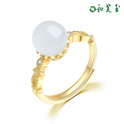 欧美925银和田玉碧玉戒指女指环女玉戒女
