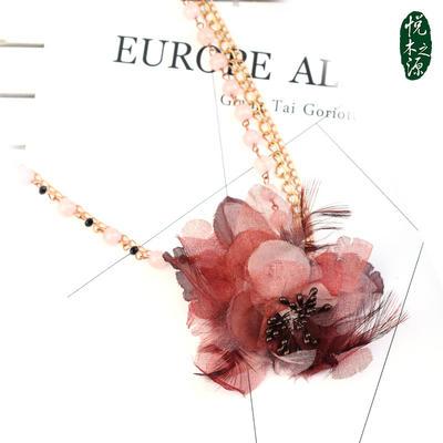 粉水晶时尚毛衣链配饰