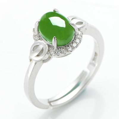 925银和田玉碧玉戒指女玉戒女戒子女女戒指