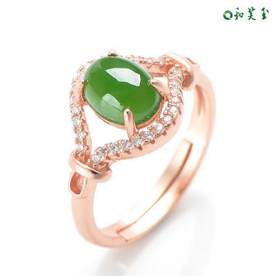 925银和田玉碧玉戒指女指环女玉戒指女