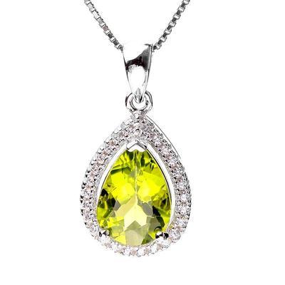 橄榄石吊坠 银镶嵌女银项链水晶气质配饰