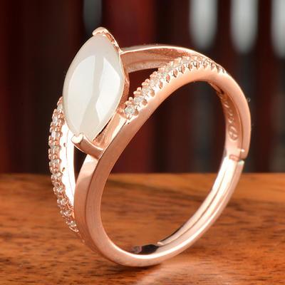 和芙玉 和田玉白玉小米戒指女指环女玉戒指女