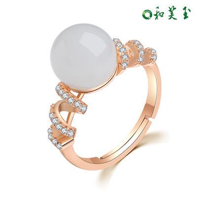 和芙玉 梦幻925银和田玉碧玉戒指女指环女玉戒女