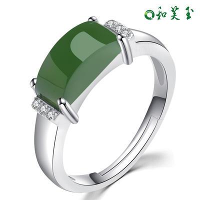 和芙玉 经典925银和田玉碧玉戒指女指环女玉戒女