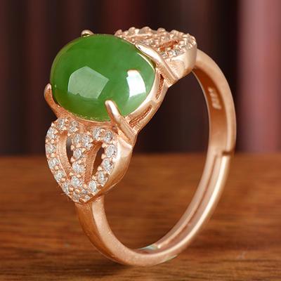 和芙玉 925银和田玉碧玉戒指女玉戒女指环女戒子珠宝