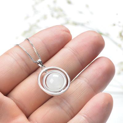 碧艺缘 和田玉白玉圆珠可旋转吊坠项链珠宝玉石玉坠