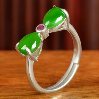 和芙玉 925银和田玉碧玉蝴蝶结水滴戒指女指环女