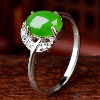 和芙玉 925银和田玉碧玉戒指女戒指女指环女