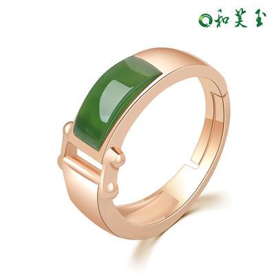 时尚925银和田玉碧玉戒指女指环女玉戒女