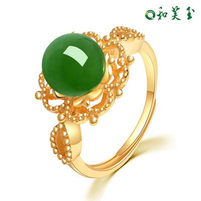 和芙玉 宫廷925银和田玉碧玉戒指女指环女玉戒女