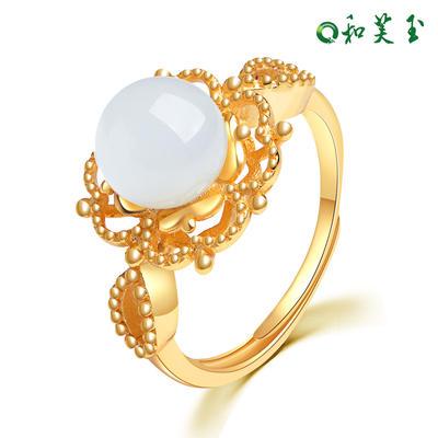 和芙玉 宫廷925银和田玉白玉戒指女指环女玉戒女