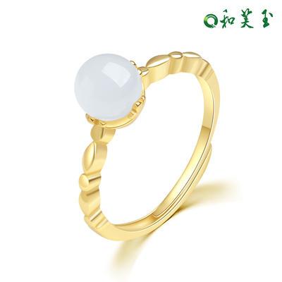 和芙玉 精致925银和田玉白玉戒指女指环女玉戒女